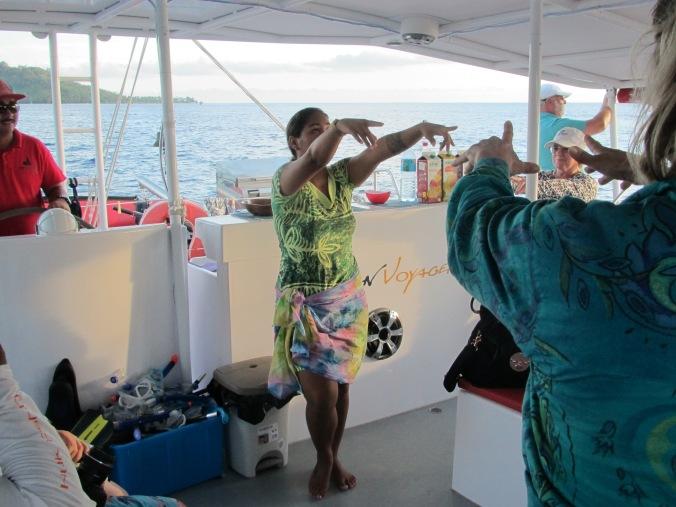 Dancing on the Catamaran Bora Bora